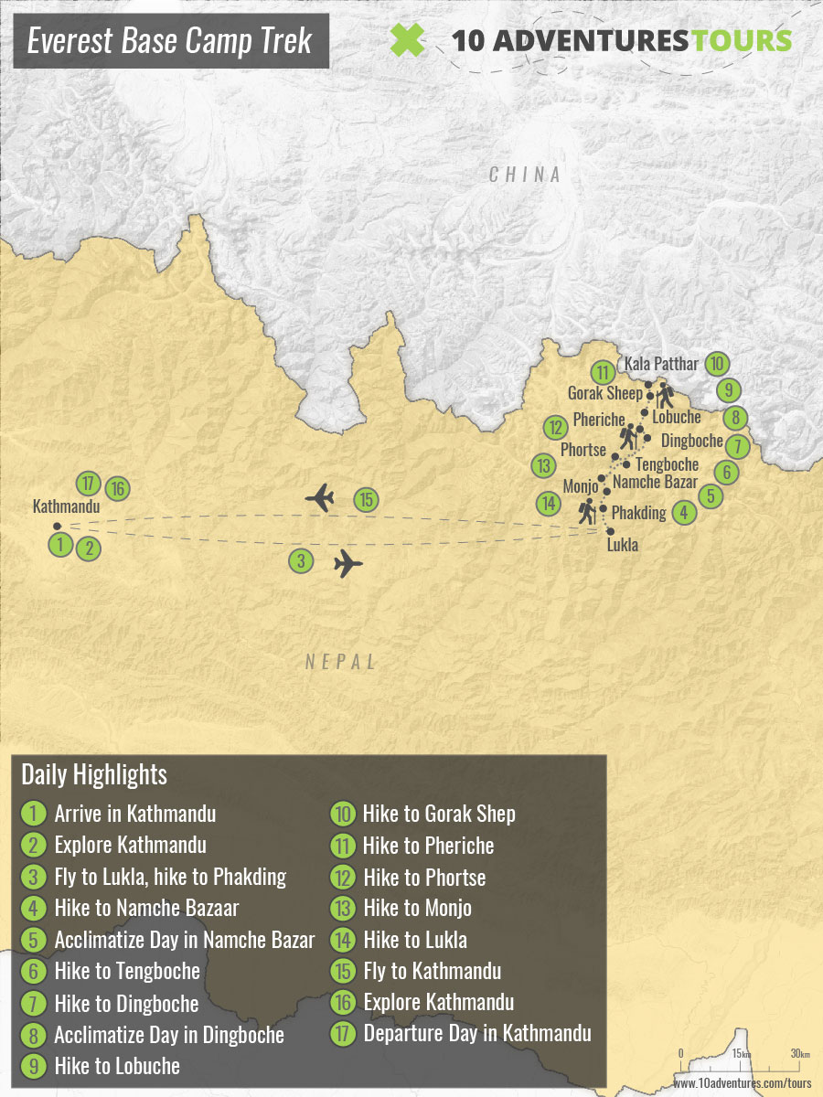 Map of guided Everest Base Camp Trek in Himalayas, Nepal