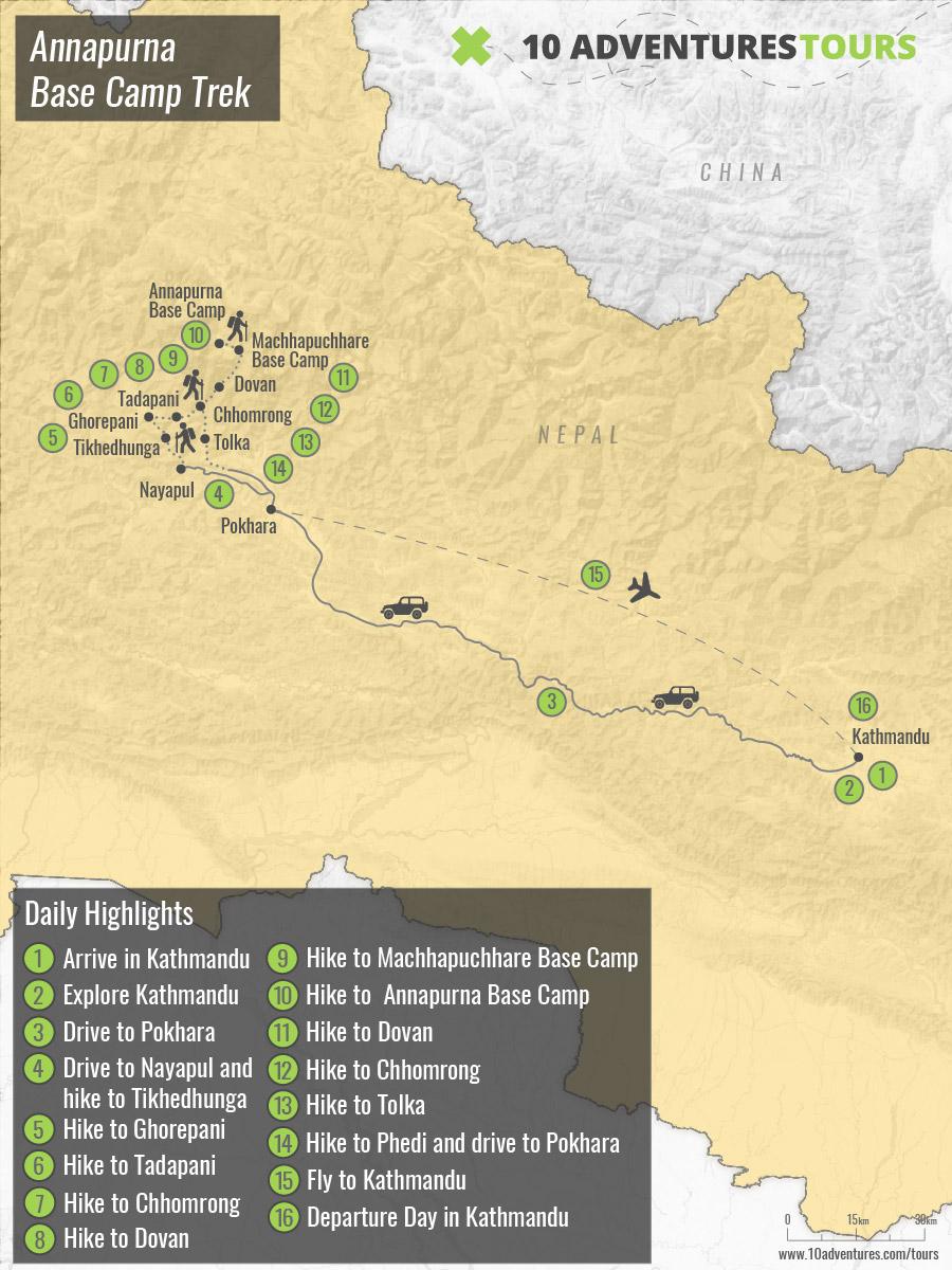 Map of Annapurna Base Camp Trekking tour in Nepal