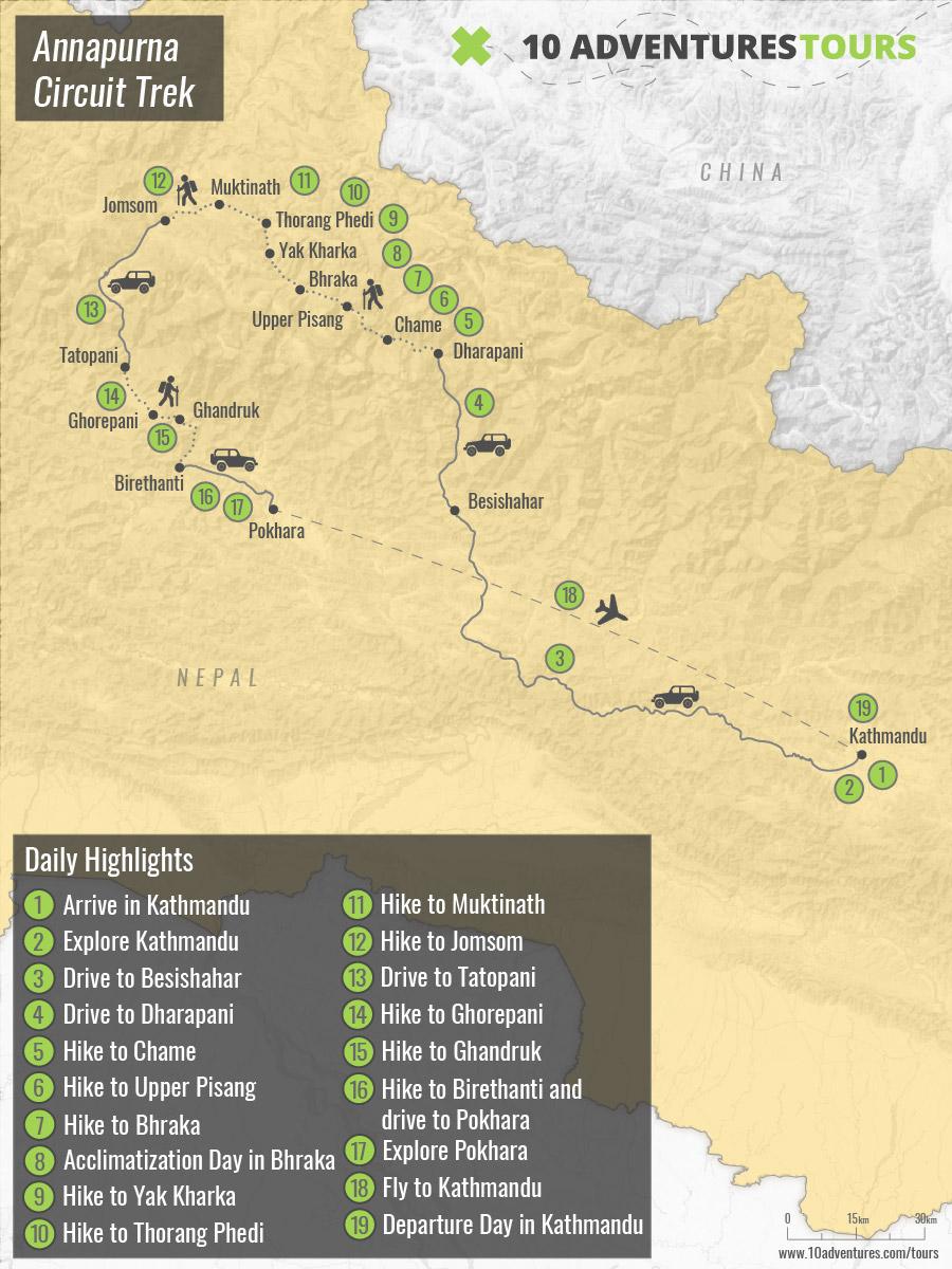 Map of Annapurna Circuit Trek in Himalayas, Nepal