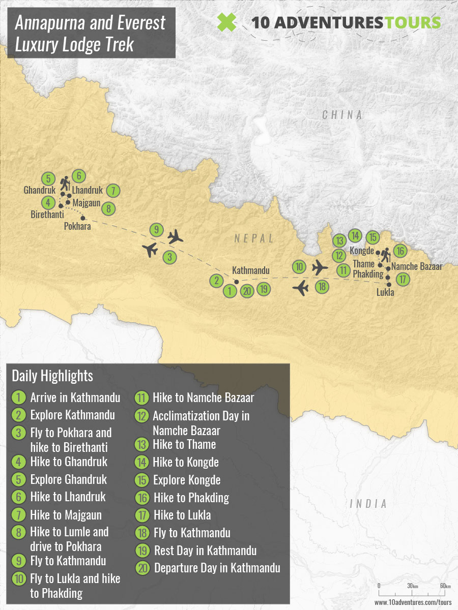 Map of Annapurna and Everest Luxury Lodge Trek in Nepal with a guide