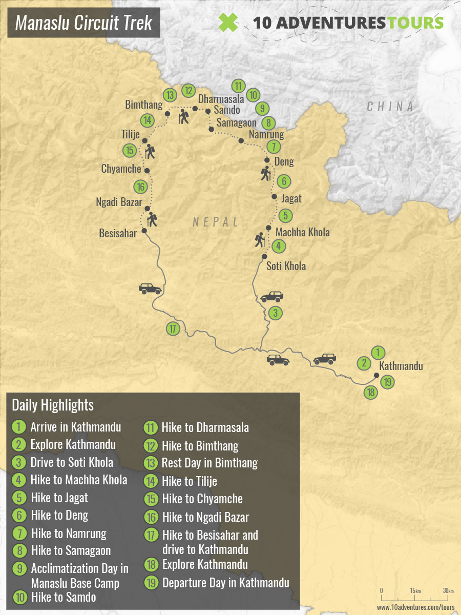 Map of Manaslu Circuit Trek in Himalayas, Nepal