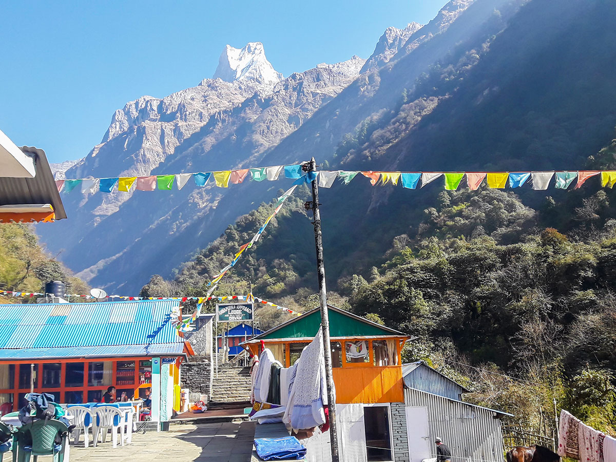 Prayer flags over the lodge on Annapurna Base Camp Guided Trek in Nepal