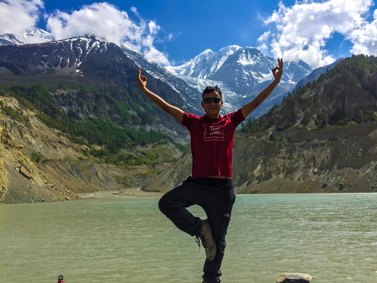 Hiker near Kali Gandaki river on guided Annapurna Circuit hike in Nepal
