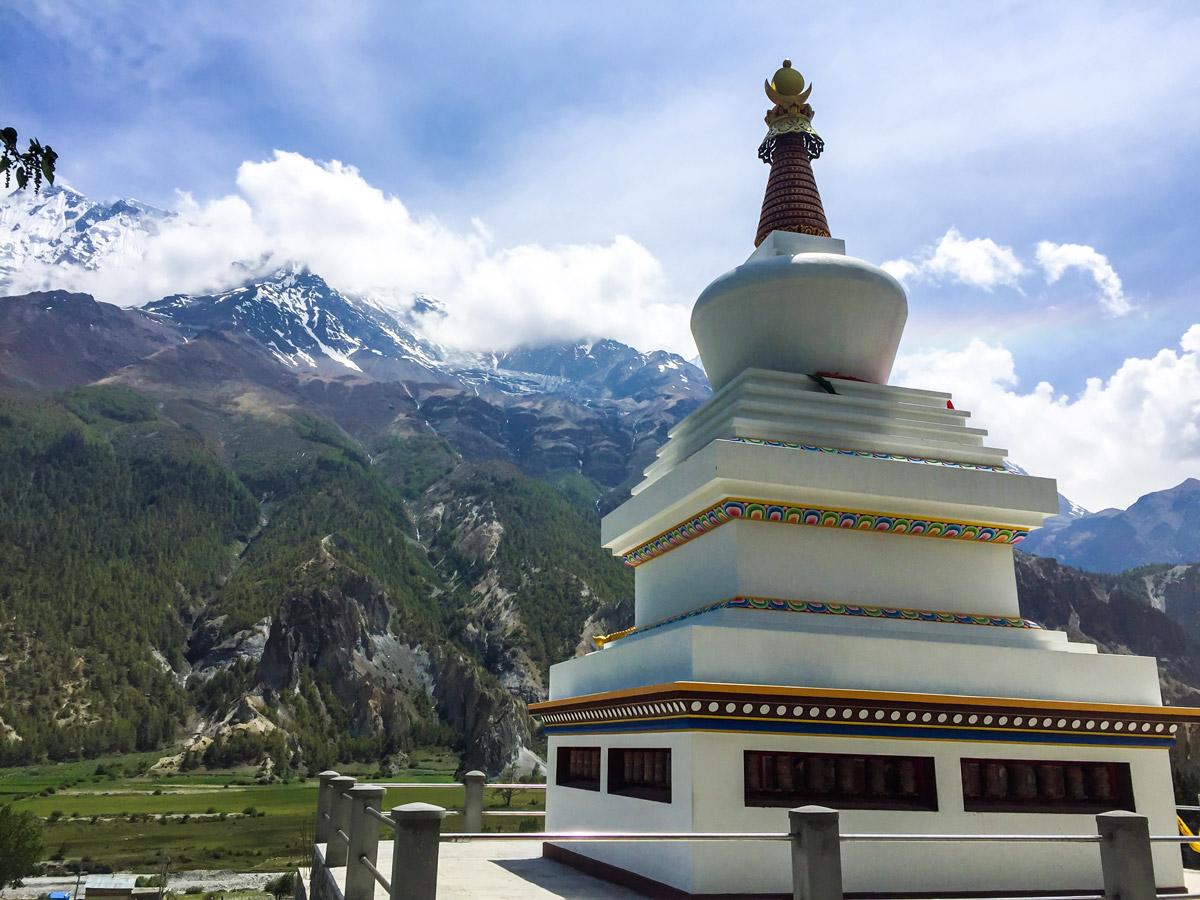 Trekking through local villages on Annapurna Circuit trek in Nepal
