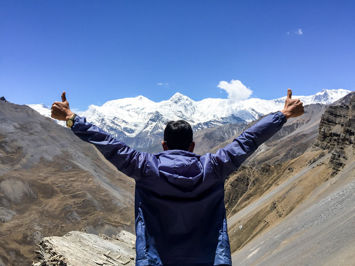 Observing views on Annapurna Circuit trek in Nepal