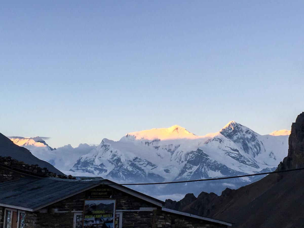 Sunset over Himalayan mountains on Annapurna Circuit trek in Nepal