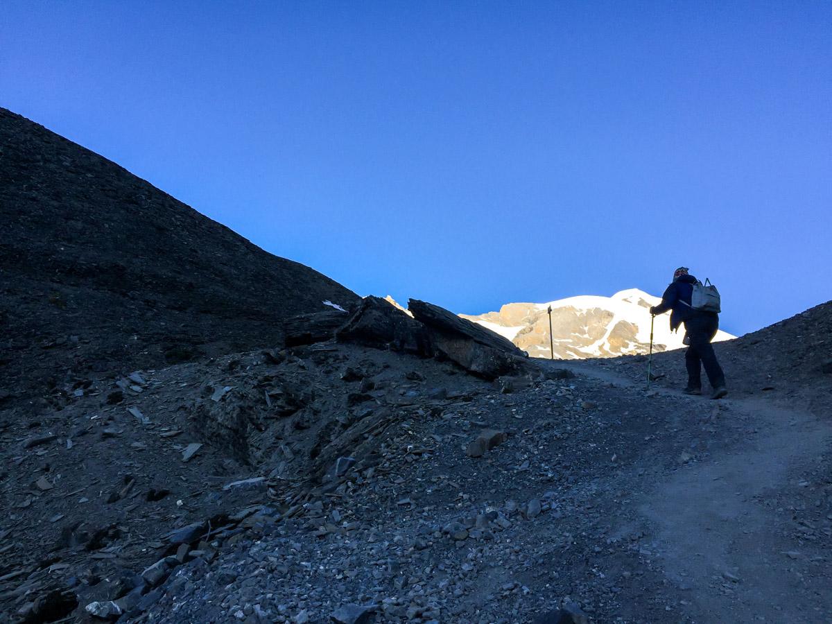 Hiker ascending on Annapurna Circuit trek in Nepal