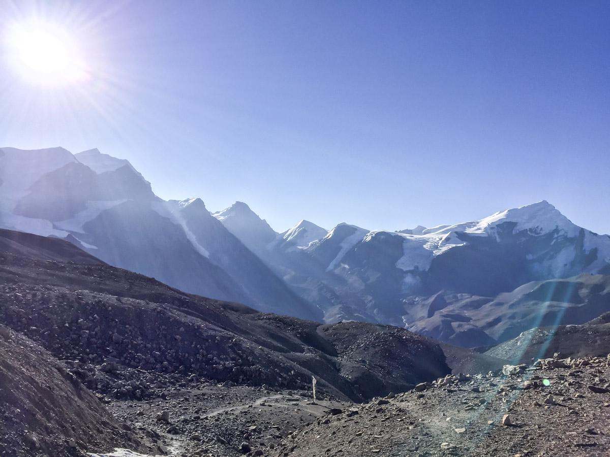 Sun over the peaks on Annapurna Circuit trek in Nepal