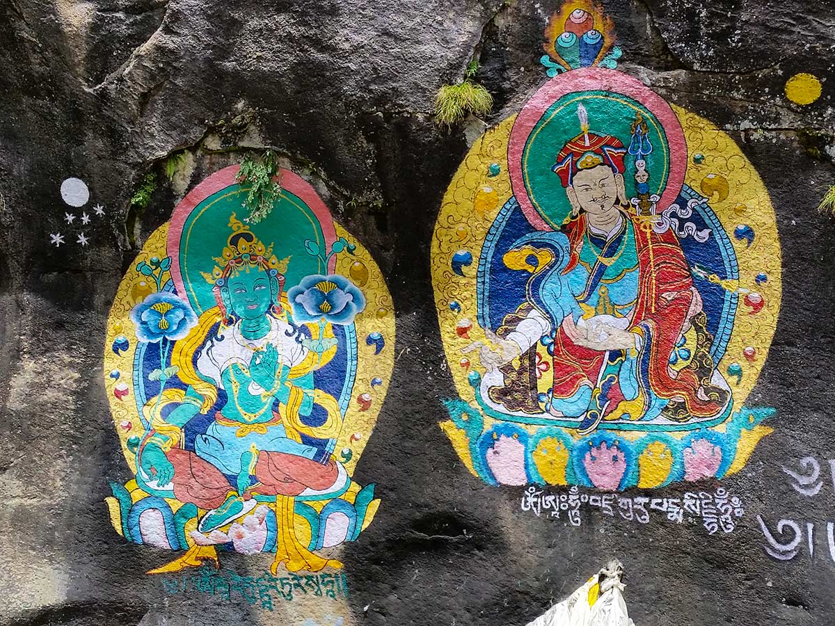 Paintings on a wall on Annapurna and Everest Luxury Lodge Trek in Nepal