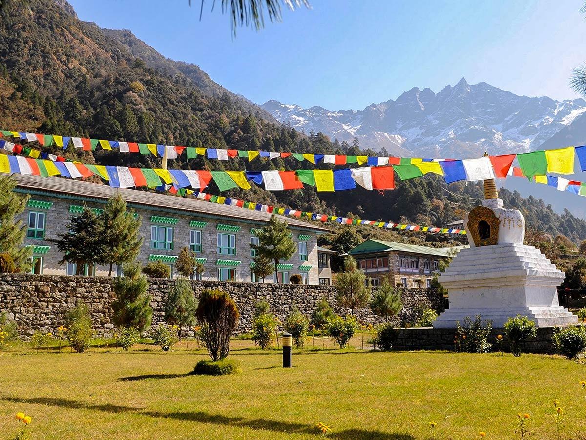 Luxury Lodge under prayer flags on Annapurna and Everest Luxury Lodge Trek