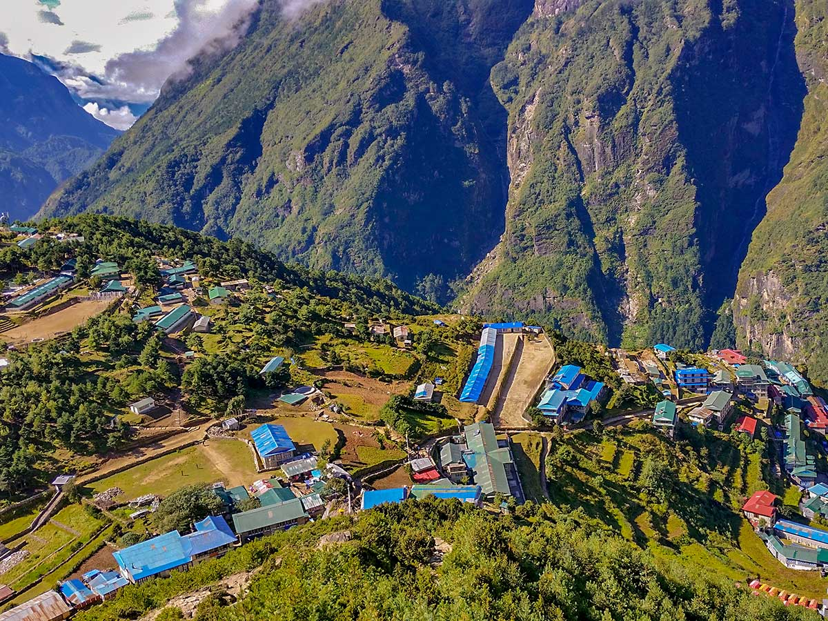 Expansive views of local Sherpa village on Everest Base Camp trek in Nepal