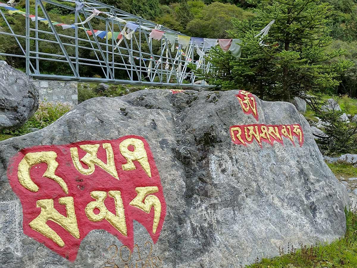 Markings on the rock of Everest Base Camp trek in Nepal
