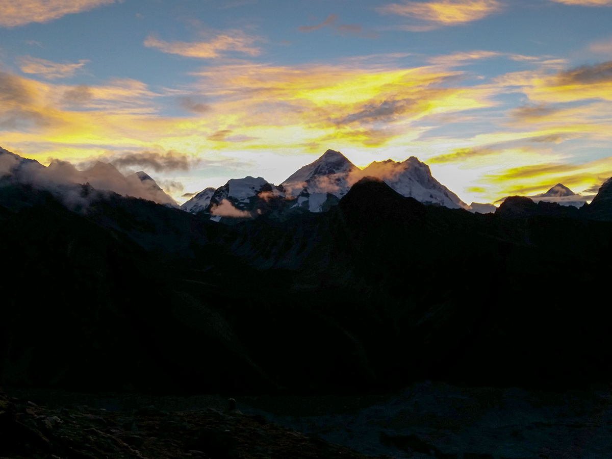 Sunset over Himalayan mountains on Everest Base Camp trek in Nepal