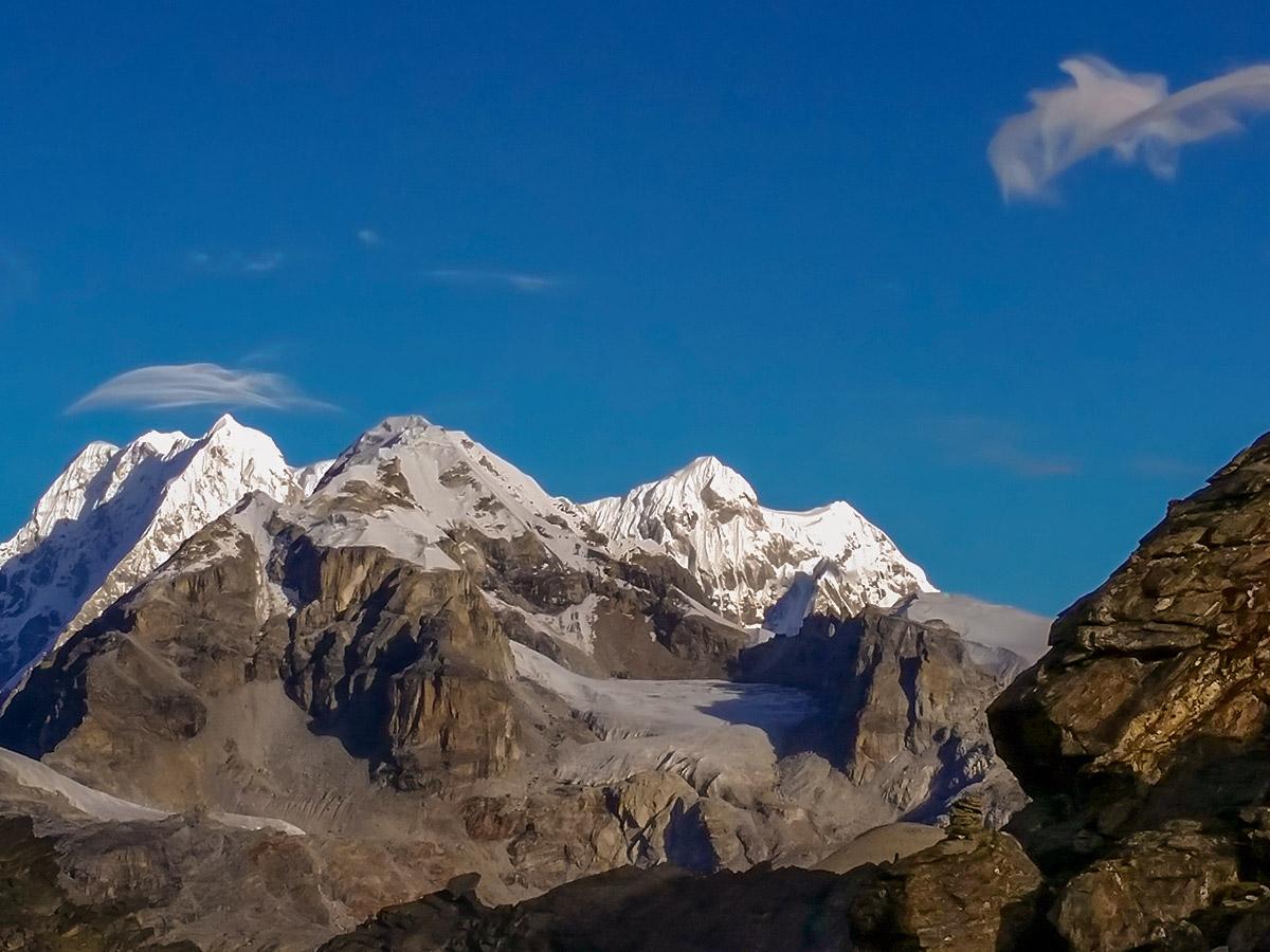 Snowy peaks on Everest Base Camp trek in Nepal