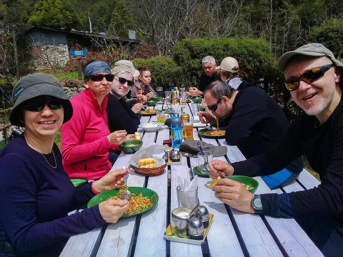 Group of hikers having lunch on Everest Base Camp trek in Nepal