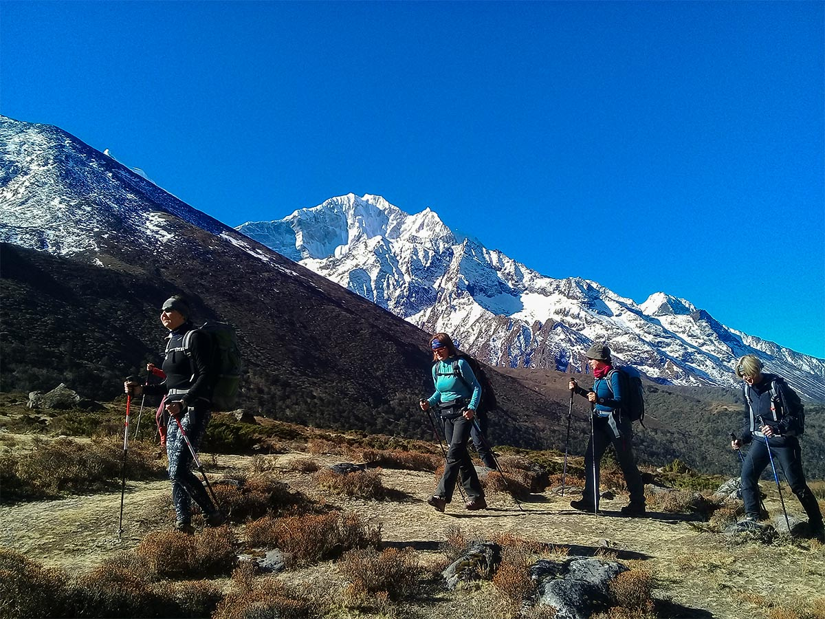 Group of hikers on Everest Base Camp trek in Nepal