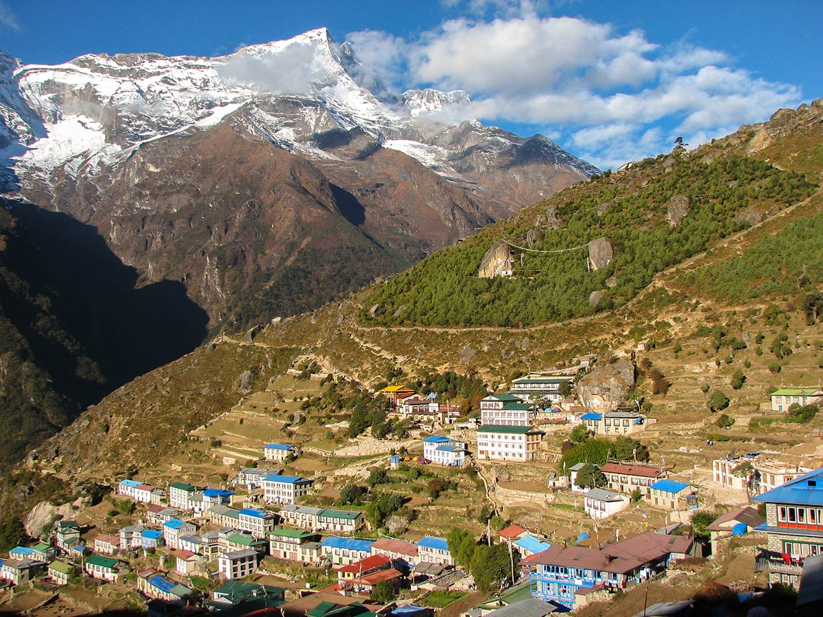 Everest Base Camp trek in Nepal passes through several Sherpa villages