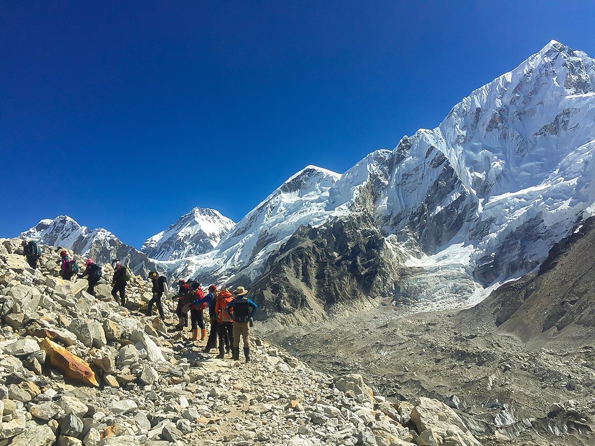 Group of trekkers in Himalayas on Everest Base Camp trek in Nepal