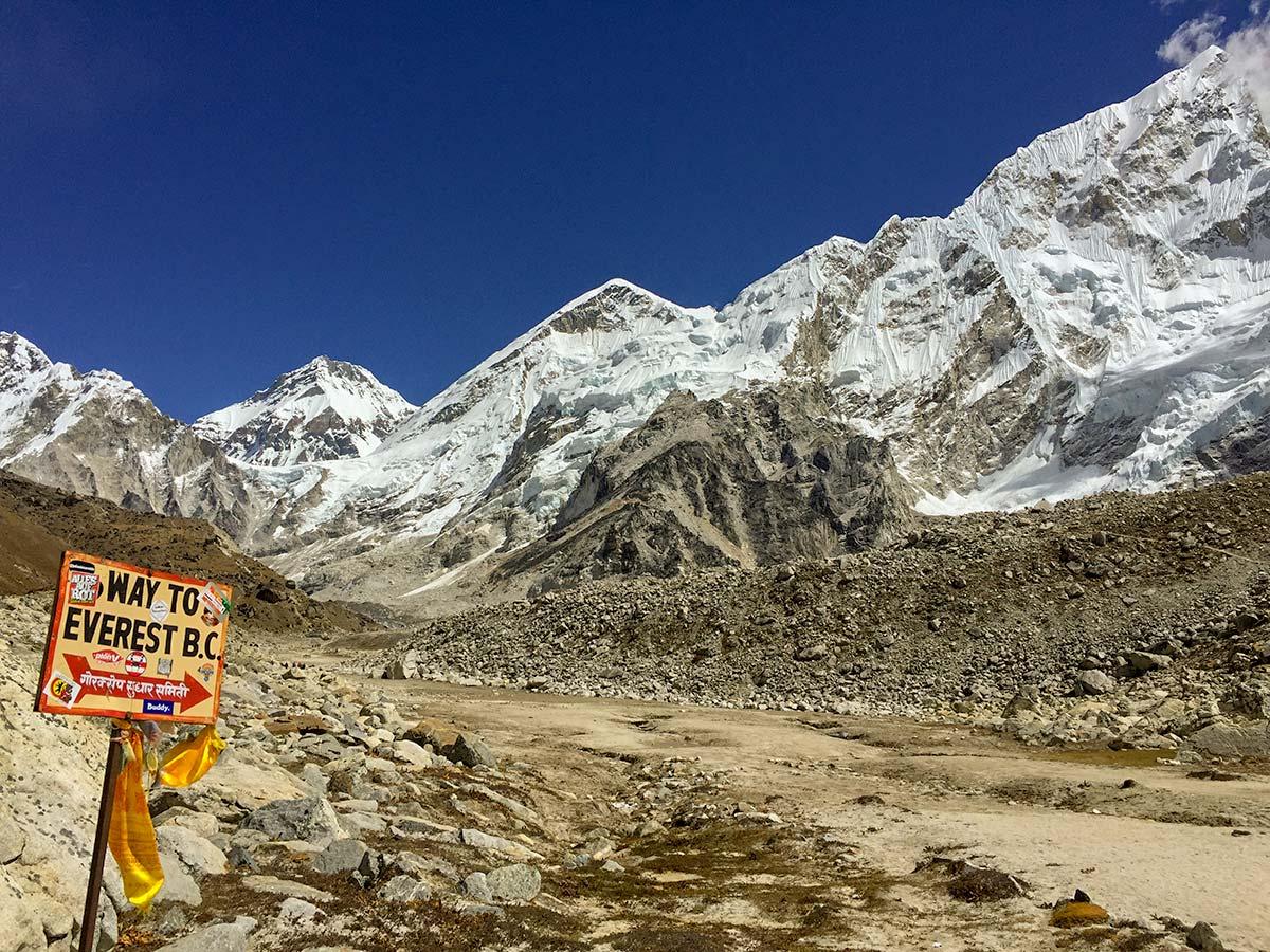 Waypoint on Everest Base Camp trek in Nepal