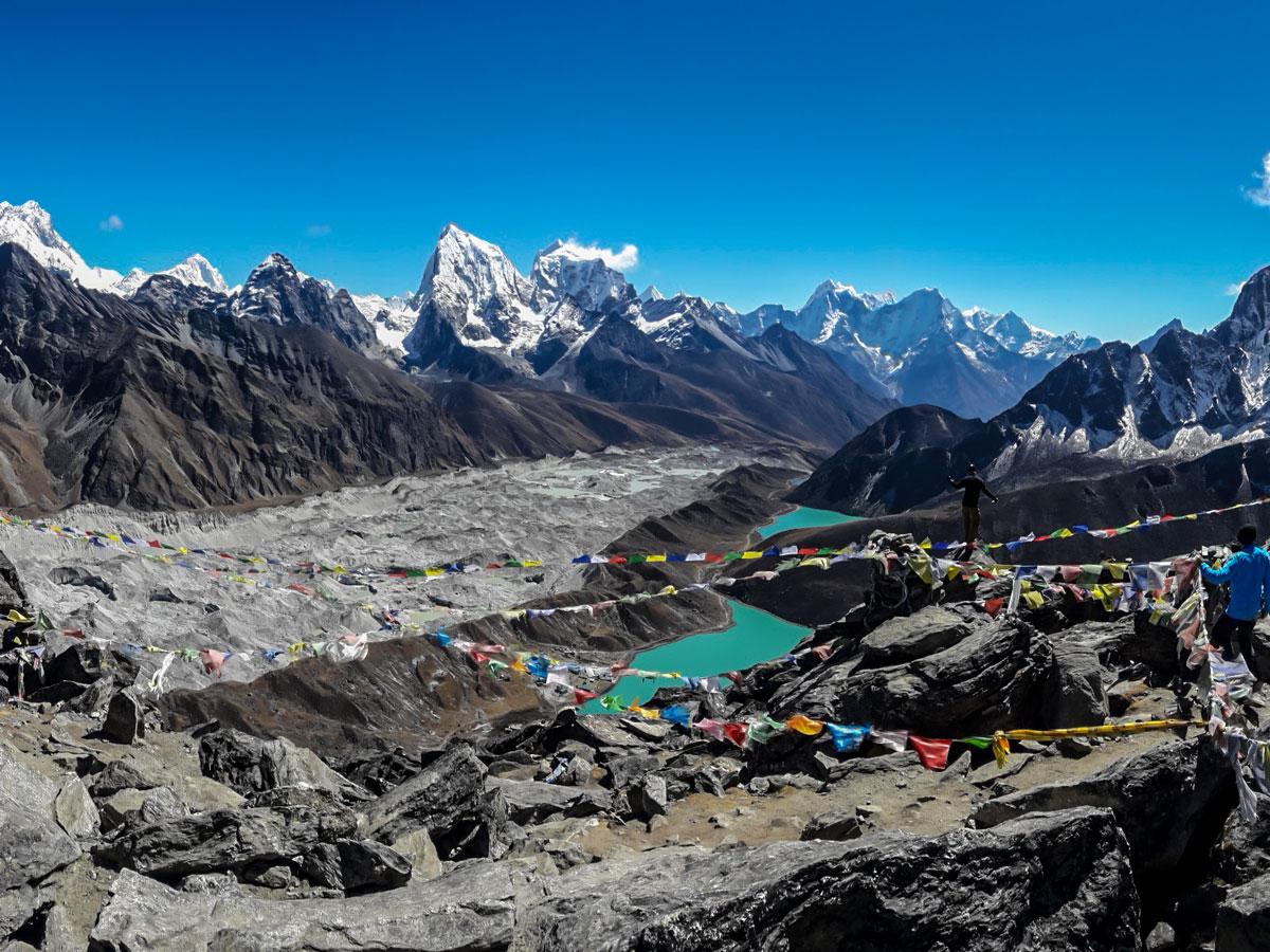 Stunning views of Ngozumpa Glacier and Gokyo Lake on Everest Base Camp and Gokyo Lake trek in Nepal