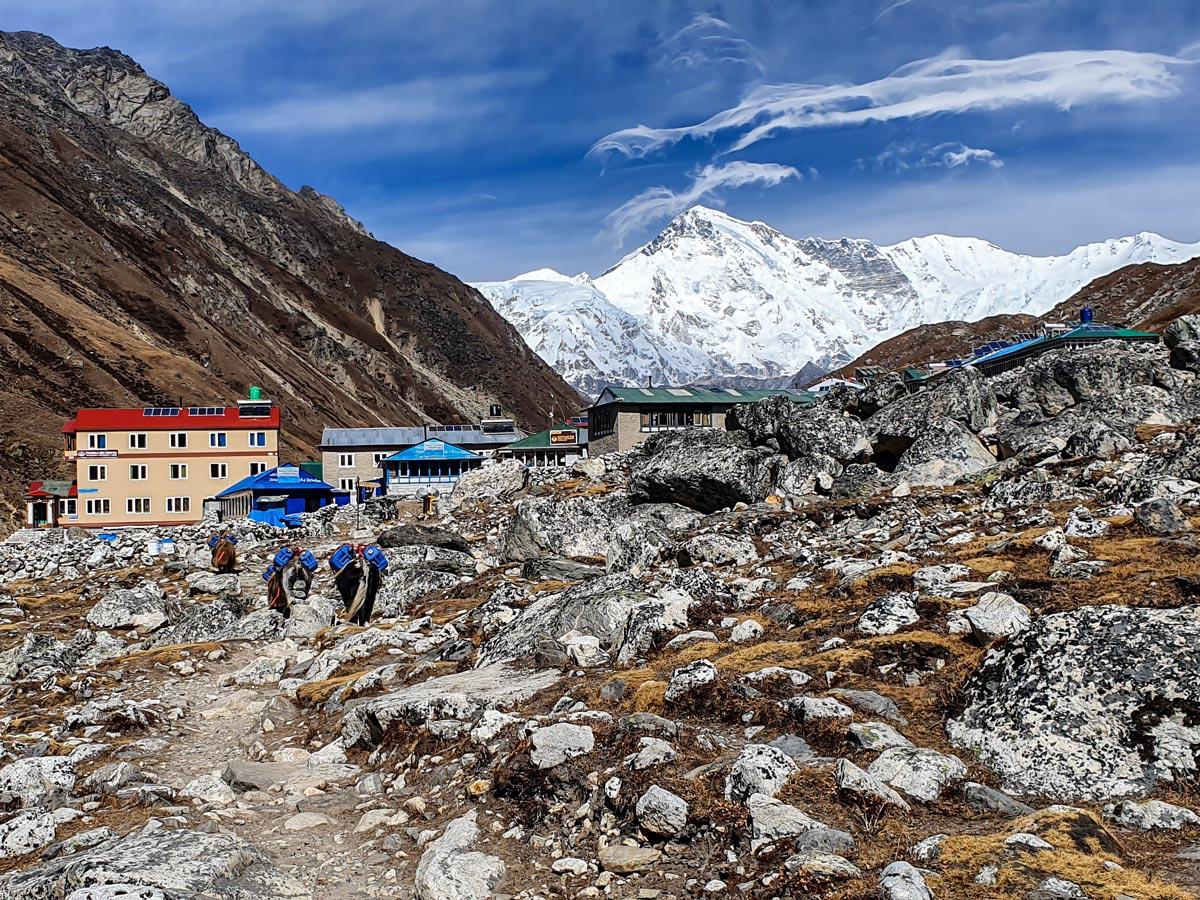 Gokyo village on Everest Base Camp and Gokyo Lake trek in Nepal