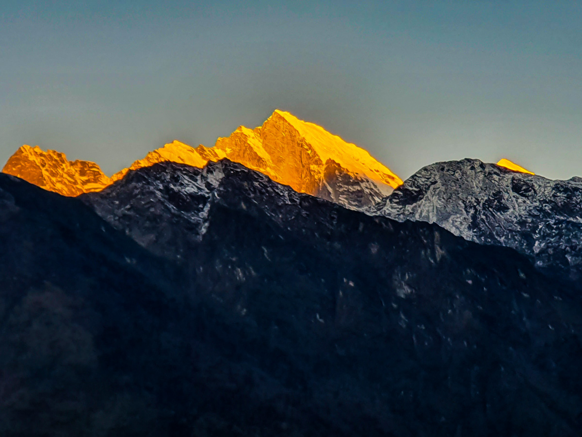 Sunset over Himalayas on Everest Base Camp and Gokyo Lake trek in Nepal