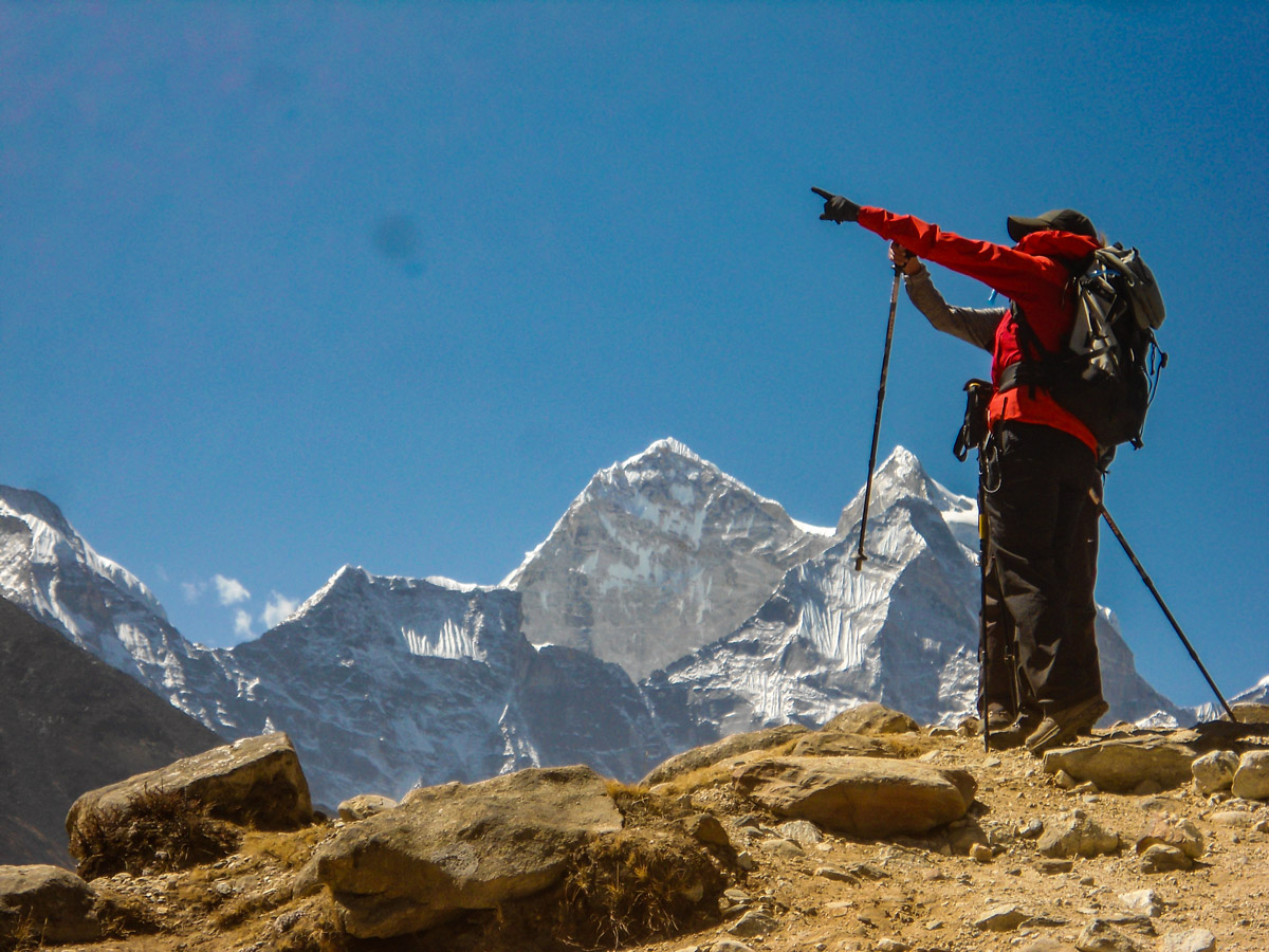 Hiker in front of the mountain on Everest Base Camp and Gokyo Lake trek in Nepal