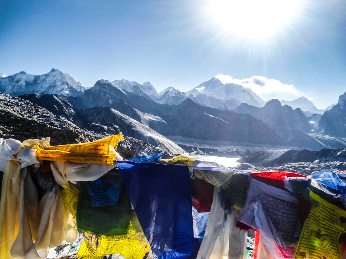 Prayer flags on Everest Base Camp and Gokyo Lake trek in Nepal
