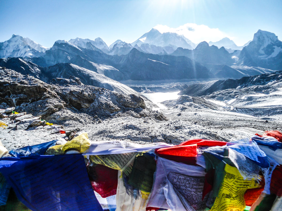 Prayer flags and beautiful mountains on Everest Base Camp and Gokyo Lake trek in Nepal