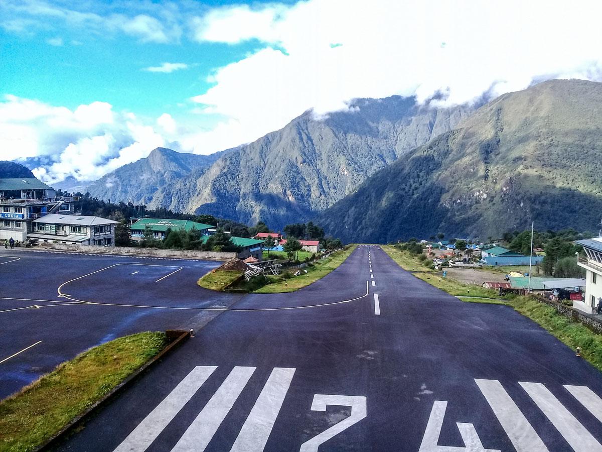 Landing in Lukla Airport on stunning Everest Panorama Trek in Nepal