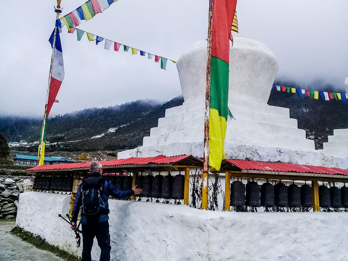 Prayer flags on Landing in Lukla Airport on stunning Everest Panorama Trek in Nepal