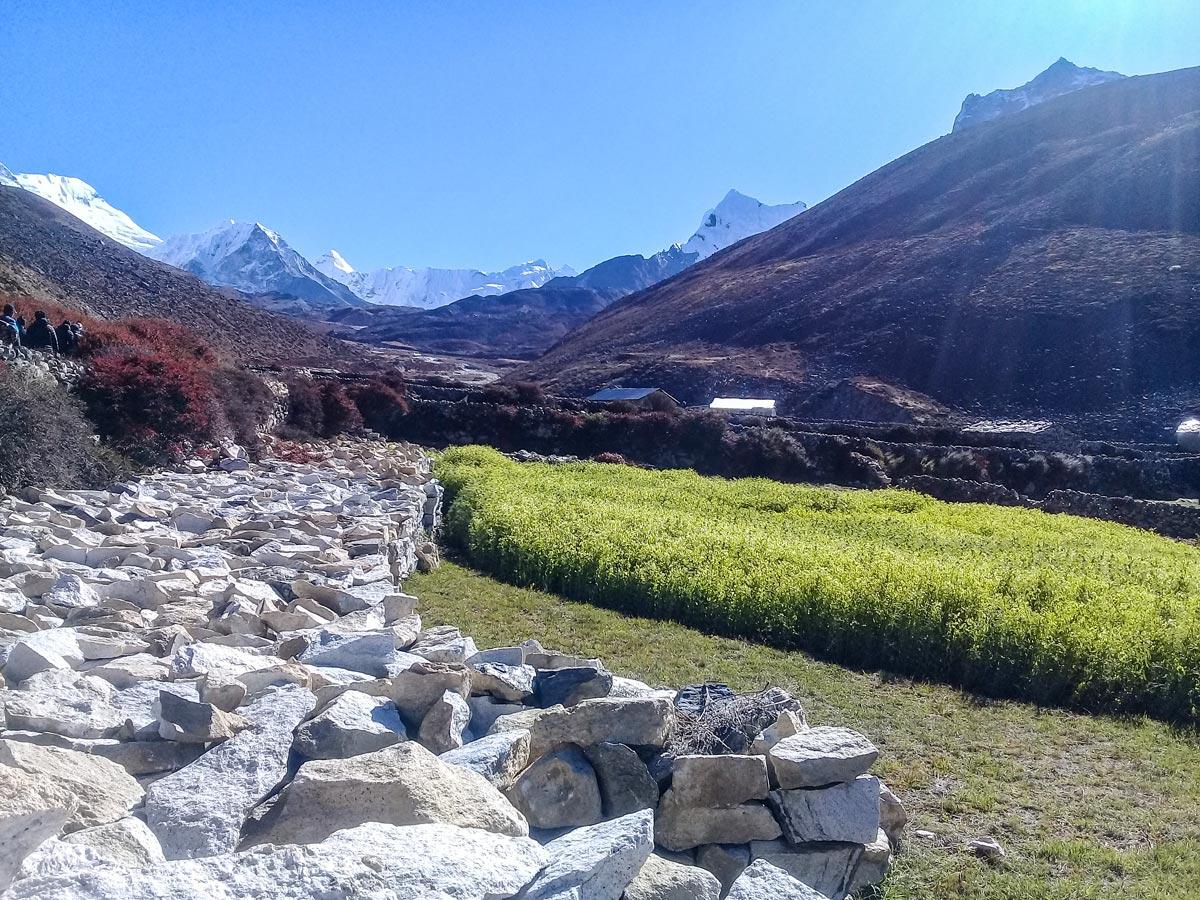 Boulders in the valley on Everest Panorama Trek in Nepal