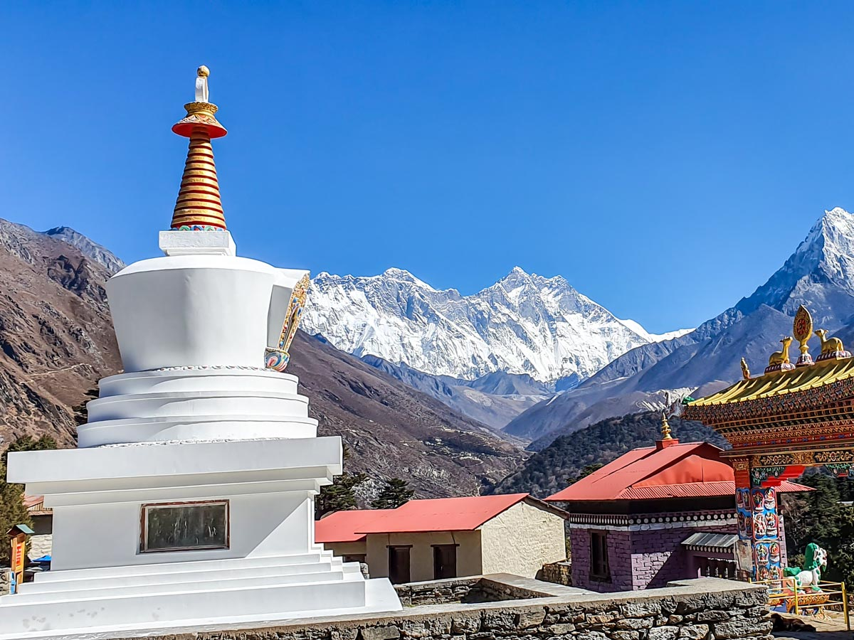 Beautiful Everest peak over the Sherpa village on Everest Panorama Trek in Nepal