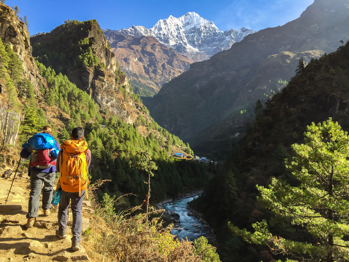 Hiking in the valley on Everest Panorama Trek in Nepal