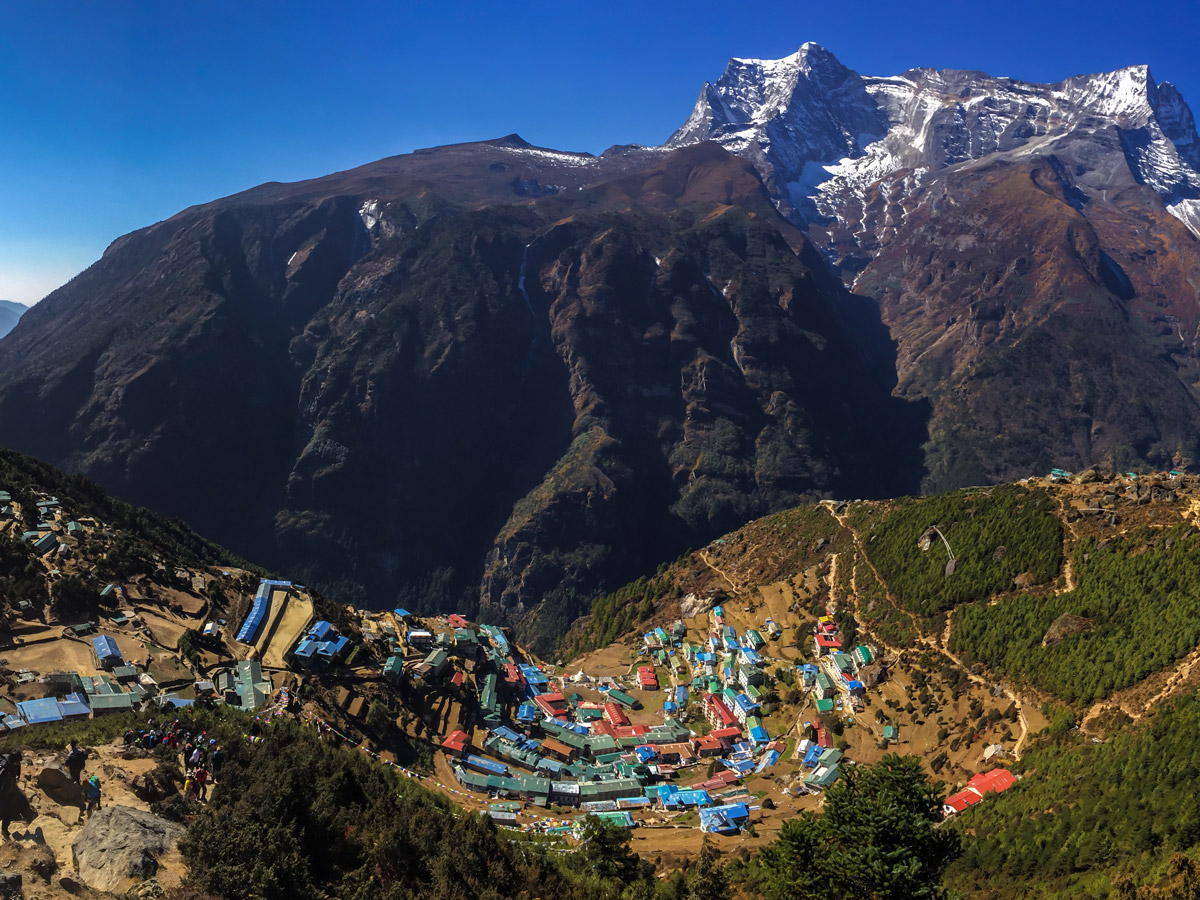 Sherpa village along the trail of Everest Panorama Trek in Nepal
