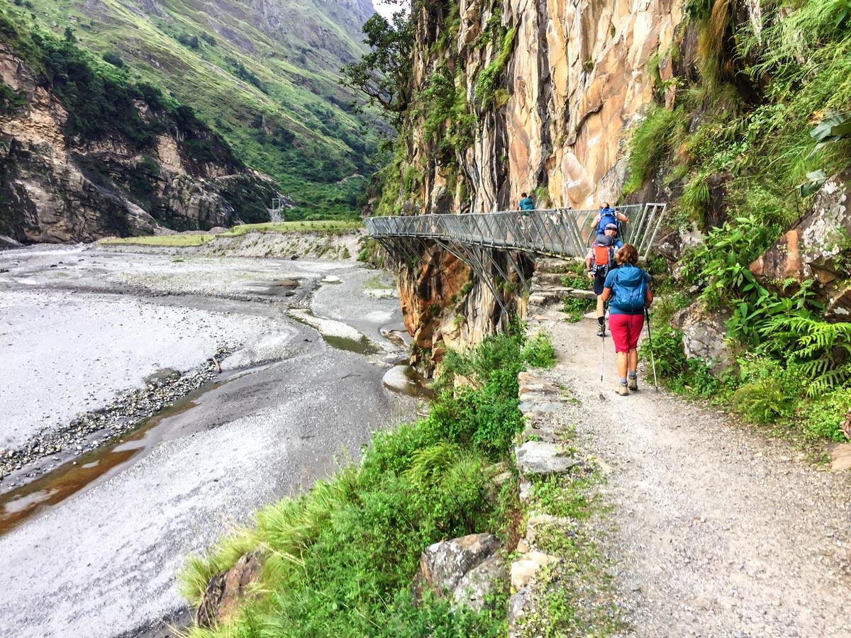 Path along the river on Manaslu Circuit trek in Nepal