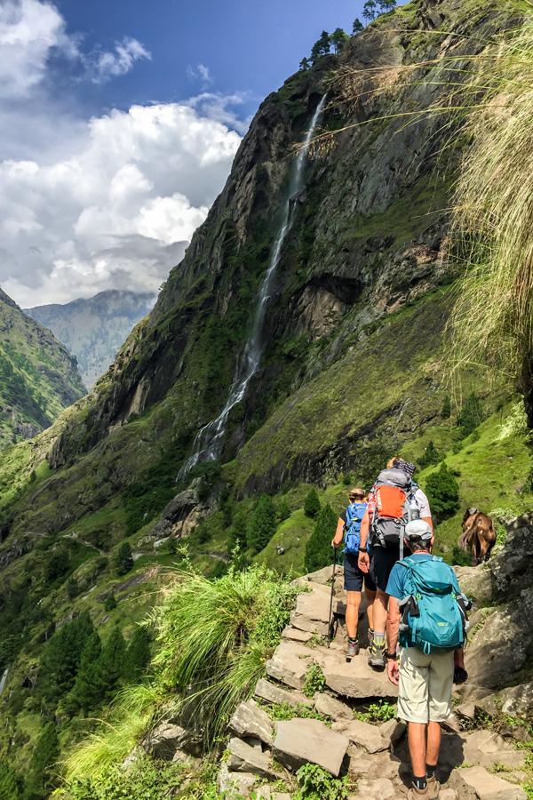 Approaching the waterfall on Manaslu Circuit trek in Nepal
