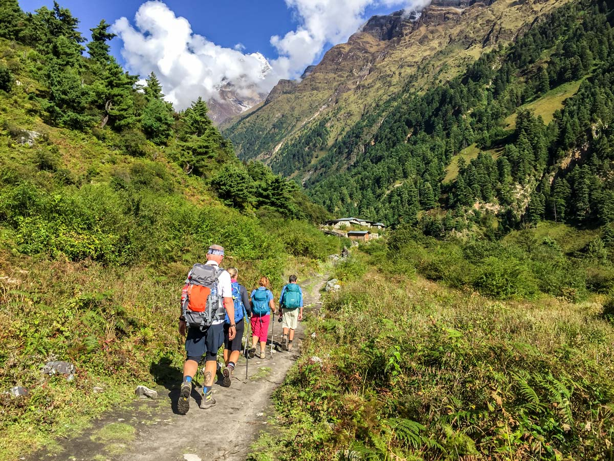 Trekkers on Manaslu Circuit trek in Nepal