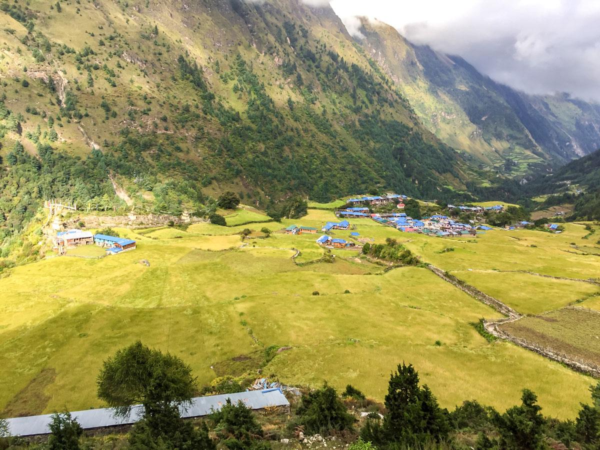 Local village in beautiful valley on Manaslu Circuit trek in Nepal