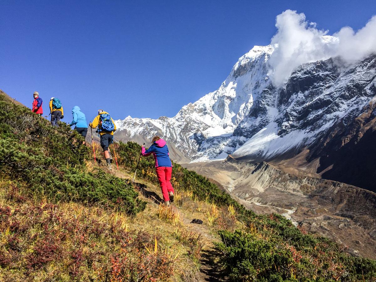 Small ascent on Manaslu Circuit trek in Nepal