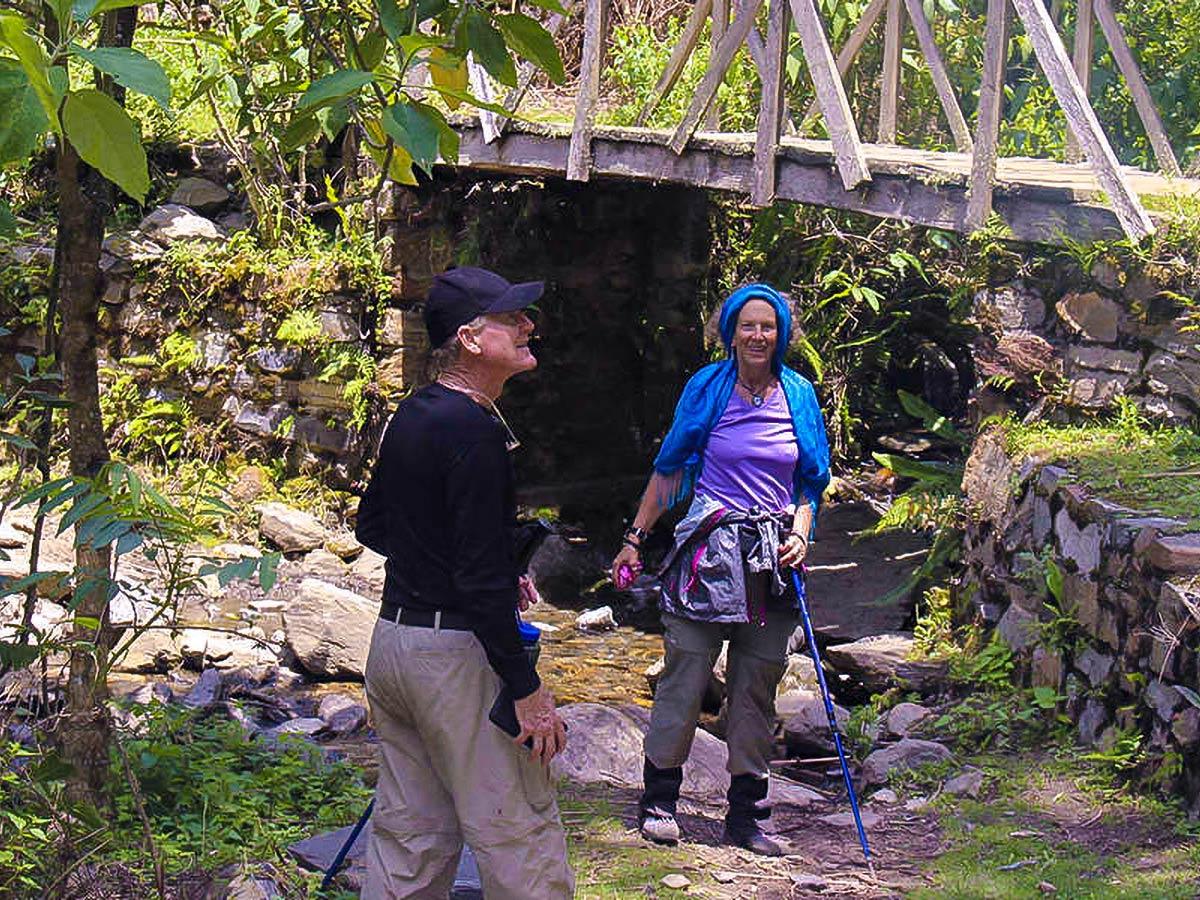 Happy hikers on Choquequirao Trek in Peru near Cusco