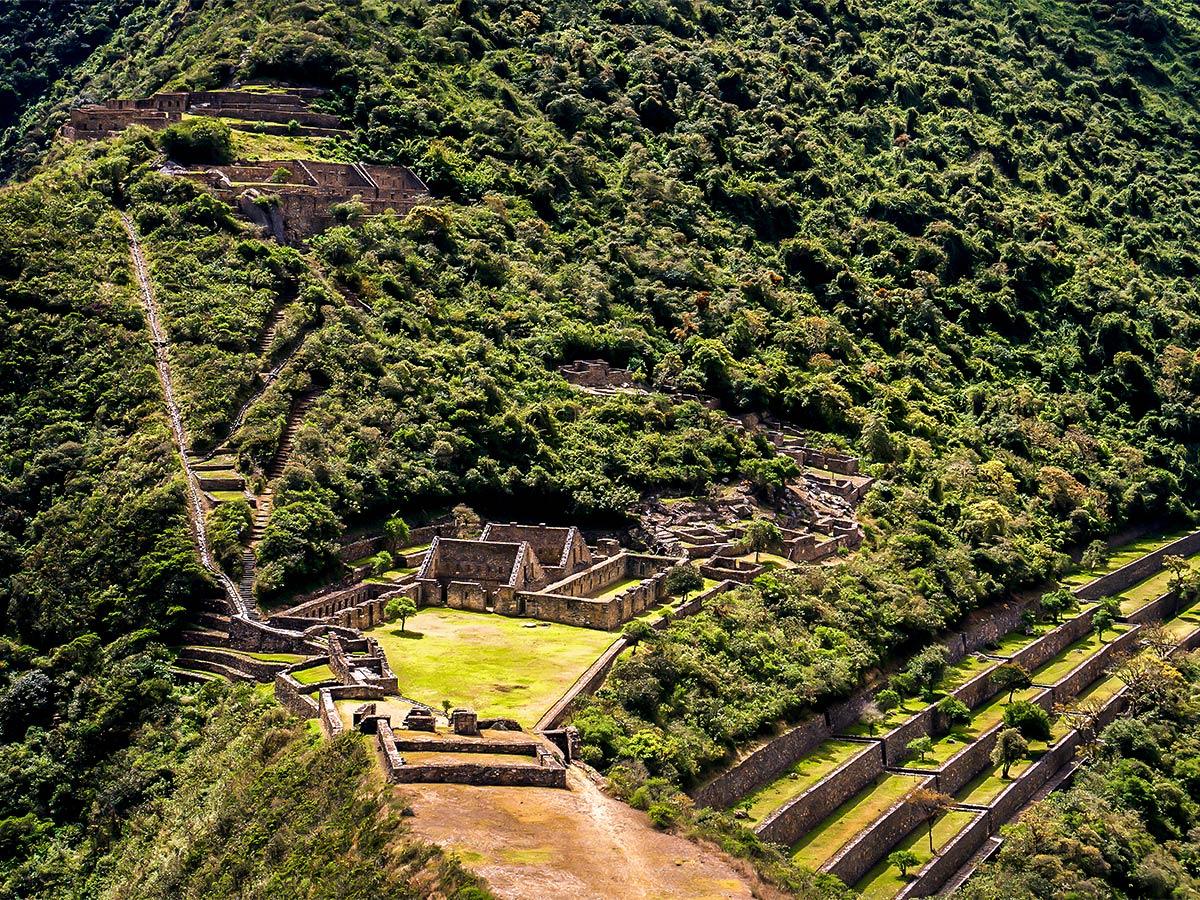 Amazing views of an archeological site on Choquequirao Trek in Peru near Cusco
