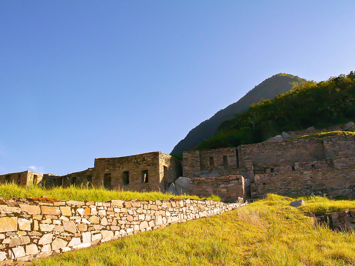 Approaching Incan ruins on Choquequirao Trek in Peru near Cusco