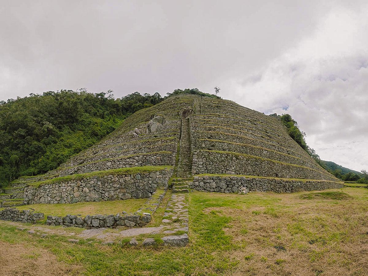Archeological site on Inca Trail to Machu Picchu near Cusco Peru