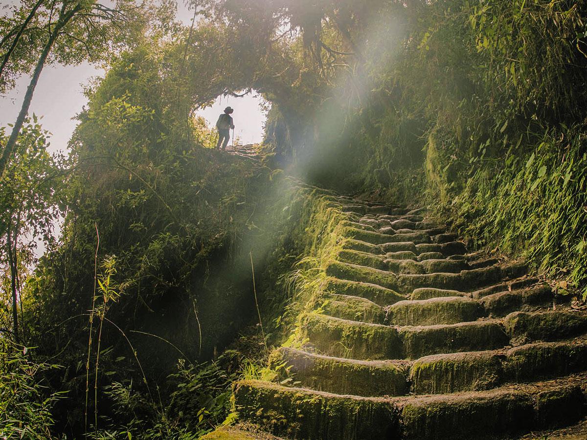 Rocky stairs of Inca Trail on Inca Trail to Machu Picchu near Cusco Peru
