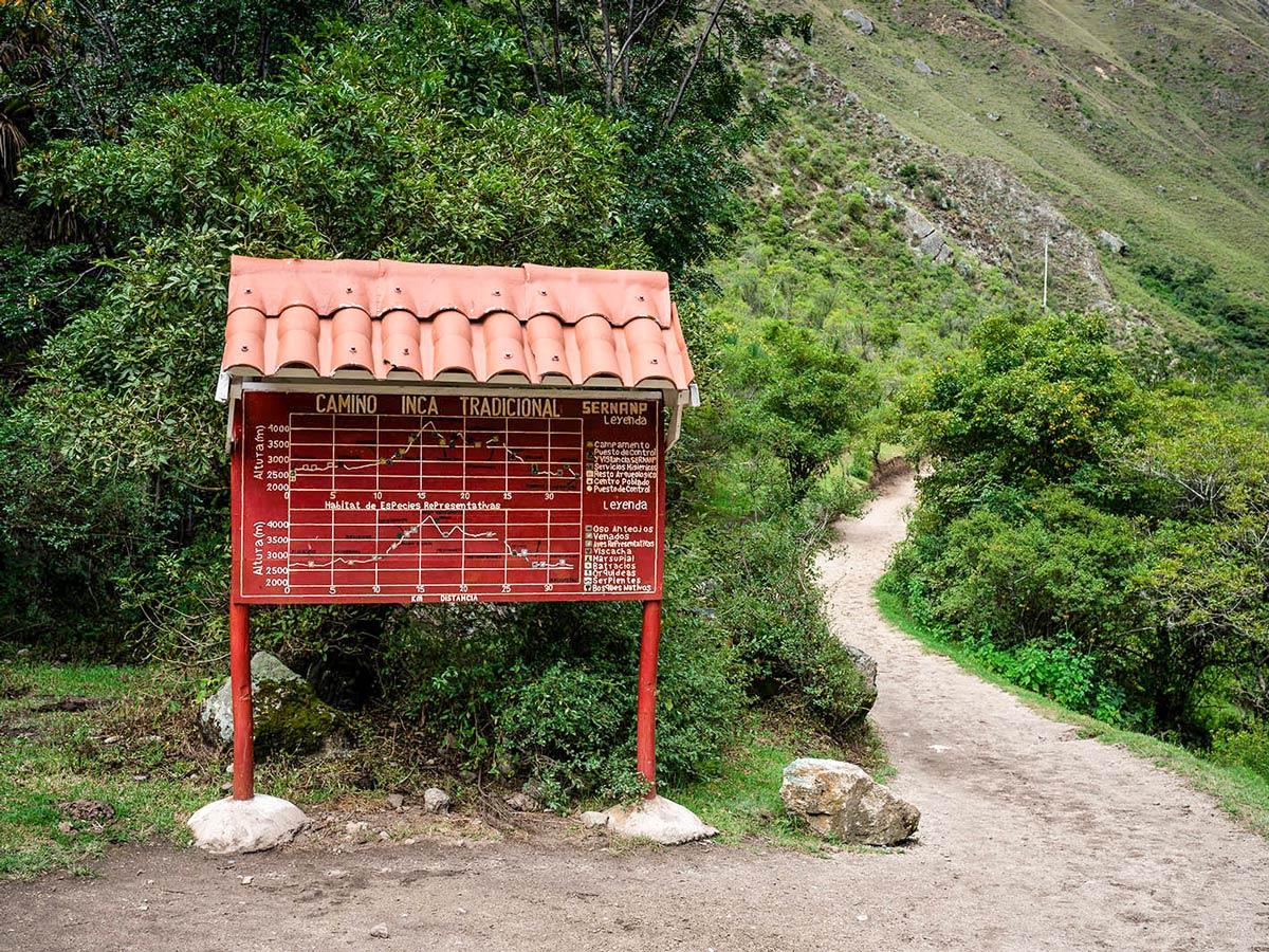 Information board on Inca Trail to Machu Picchu near Cusco Peru