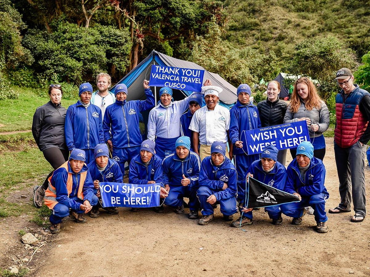 Valencia Travel team on Inca Trail to Machu Picchu near Cusco Peru