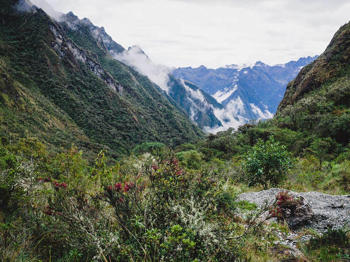 Beautiful valleys in the rainforest on Inca Trail to Machu Picchu near Cusco Peru