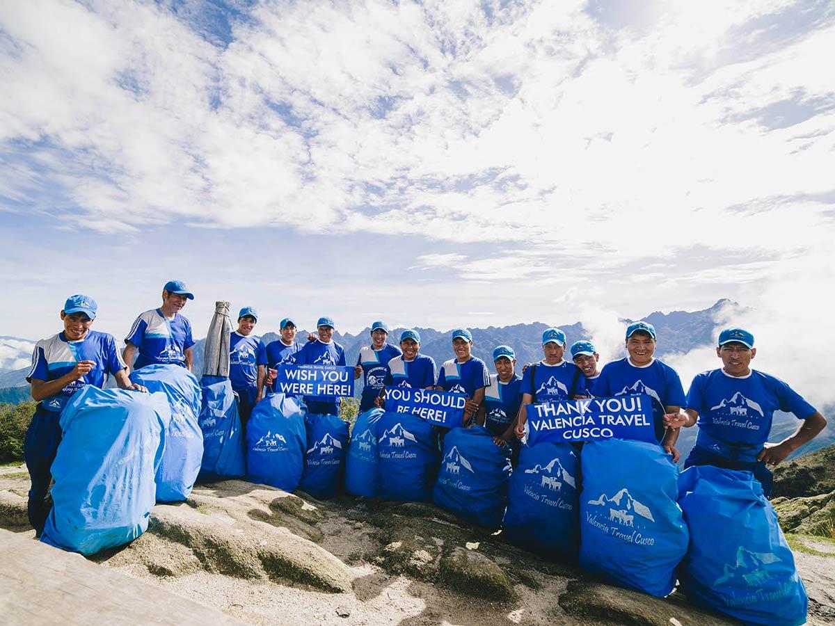 Team of porters on Inca Trail to Machu Picchu near Cusco Peru