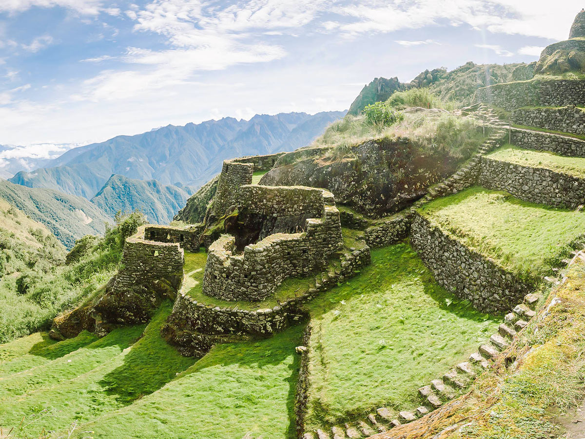 Inca Trail to Machu Picchu is surrounded by beautiful archeological sites